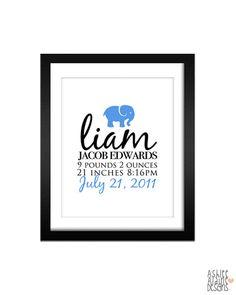 Custom Baby Name Nursery Wall Art - Baby Elephant - 8x10 Design - Birth Announcement Print. $17.00, via Etsy.