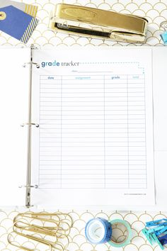 Blue Grade Tracker Printable, Student Binder with Free Printables for Back-to-School, study aids, high school organization, college organization, middle school organization, pretty printables, printables for girls, printables for boys, resources for students, back to school, graduation gift, student organization, teacher printables