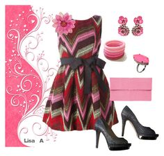 """""""Charcoal & Pink"""" by labond on Polyvore featuring P.A.R.O.S.H., Jimmy Choo, SHOUROUK and Malababa"""