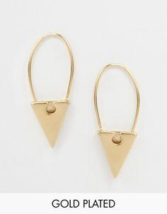 ASOS | ASOS Gold Plated Brass Triangle Through Earrings at ASOS