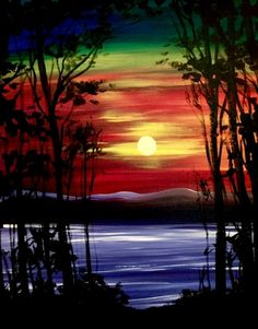 Rainbow sky sunset painting idea. Hey! Check out Colors Shining Through at Machine Nightclub - Paint Nite Event
