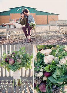 vegetable wedding bouquet. How cool would this be with dinosaur kale? :)