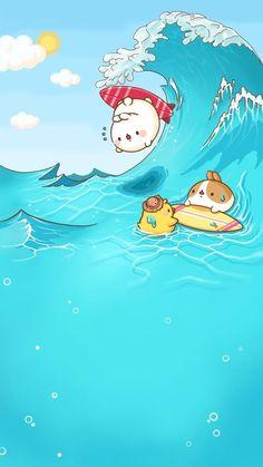 Molang in Summer Kawaii Anime, Chibi Kawaii, Cute Chibi, Cute Wallpaper Backgrounds, Wallpaper Iphone Cute, Cute Cartoon Wallpapers, Kawaii Illustration, Cute Kawaii Animals, Kawaii Cute