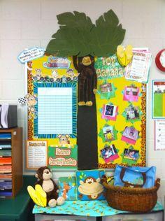 Monkey Bulletin Board Kindergarten Classroom SetupClassroom SettingClassroom ThemesClassroom OrganizationClassroom