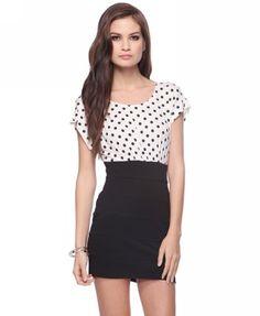 Polka Dot Combo Dress (Cream/Black). Forever 21. $17.80