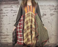 Lg. Tribal Plaid Flannel Bohemian Dress// Upcycled// by emmevielle $135.00