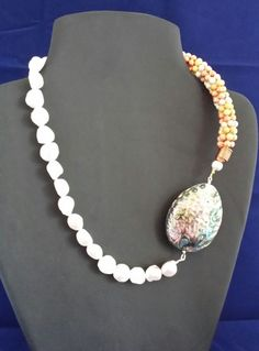 Abalone Necklace Jewelry,Large Baroque pearl necklace,real pearl necklace,big…