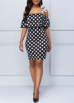 Cheap black Dresses online for sale Black Dresses Online, Dresses For Sale, Casual Chic Style, Cool Style, Spandex Dress, Polka Dot Print, Polka Dots, Women's Fashion Dresses, Womens Fashion