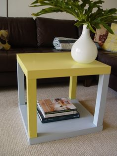 2x $8 Ikea LACK side tables from IKEA stacked to make a custom side table. Fun idea for an apartment for better storage