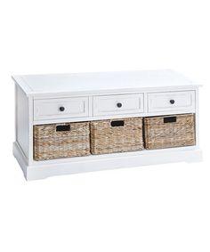 Another great find on #zulily! White Rattan Three-Drawer Basket Cabinet/Bench by UMA Enterprises #zulilyfinds
