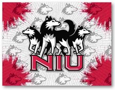 Northern Illinois Huskies D1 Printed Logo Canvas.  Visit SportsFansPlus.com for Details.