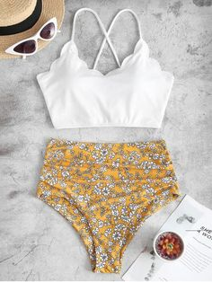 [50% OFF] [HOT] 2020 ZAFUL Floral Ribbed Lace Up Tummy Control Tankini Swimwear In WHITE | ZAFUL Try this mix and match tankini swimwear to flaunt your charming figure. The top is crafted from a cozy ribbed fabric, with back lace-up design to adjust to your perfect fit. And the bottom is printed with feminine tiny flower pattern and has tummy control insert to smooth out your look. Style: Fashion Swimwear Type: Tankini Gender: For Women Material: Polyester,Spandex Bra Style: Padded Support… Push Up Bikini, Bandeau Bikini, Bikini Sets, Bikinis, Swimsuits, Bodysuit, Pullover Hoodie, Ribbed Fabric, Two Piece Outfit