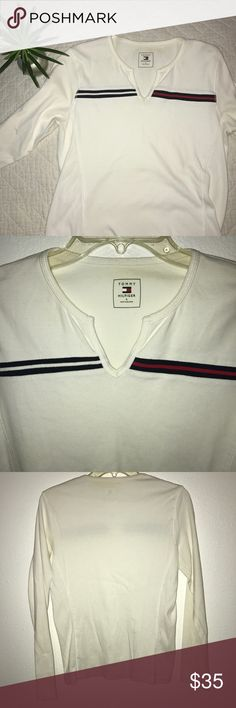 TOMMY HILFIGER • white vintage fitted tommy shirt Ribbed  sides. Long sleeve cotton shirt. No flaws, holes, or stains. Great paired with jeans. Tommy Hilfiger Tops Tees - Long Sleeve