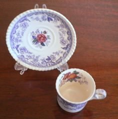 SPODE COPELAND MAYFLOWER  DEMITASSE TEACUP AND SAUCER LAVENDER WITH PINK ROSES #SPODE