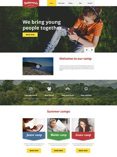 Summer camp WordPress template where retro and modern flat style seamlessly blend with each other and find response both in kids and parents souls. Wordpress Template, Wordpress Theme, Web Themes, Web Design Inspiration, Design Ideas, Camping With Kids, Site Design, Website Template, New Friends