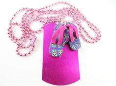 Little girls pink flip flop necklace  by jewelryandmorebykat