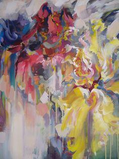 Iris flowers- acrylic on canvas, 100/80 cm, 2017, Derecichei Simona Mihaela