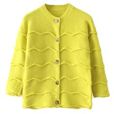 Modern Womens Wave Patten Long Sleeve Plain Cardigan Sweater (€39) ❤ liked on Polyvore featuring tops, cardigans, outerwear, yellow, yellow cardigan, yellow long sleeve top, yellow top, long sleeve cardigan and long sleeve tops