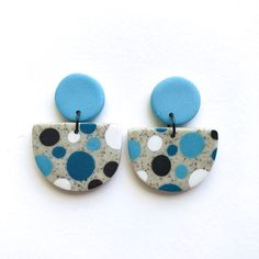 Polymer Clay Earrings, Dangle Statement Earrings, Art Jewelry, Polymer Clay Dangles – GRANITE SPOTS DOTTY – blue white black