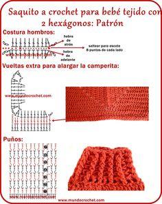 Saquito crochet hexágono/Campera crochet hexágono/Saquito ganchillo hexágono/Campera ganchillo hexágono
