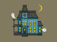 Haunted House Home Sweet Home Cross Stitch Pattern PDF by Patchoo