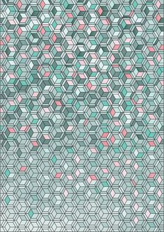 Pattern with cubes and hexagons via The Kingslip Graphic Patterns, Cool Patterns, Print Patterns, Surface Design, Surface Pattern, Motifs Textiles, Textile Patterns, Ombres Portées, Op Art