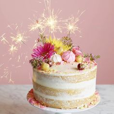 "mrandmrs2015: ""guess what today is?!?? My BIRTHDAY!! I'm celebrating with the most epic naked birthday cake ever (it's on the blog now) with lemon curd, swiss buttercream + sparklers!!! 🎂🎉🎊🎂 it's extra pretty because that's what happens when your..."