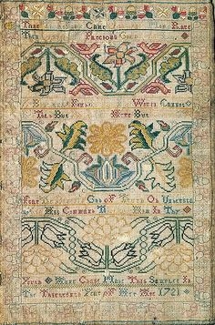 Embroidered Sampler Maker: Anne Chase  (born 1709) Date: 1721 Geography: New England, Newport, Rhode Island, United States Culture: American Medium: Wool embroidered with silk thread Dimensions: 12 1/4 x 8 1/4 in. (31.1 x 21 cm) Classification: Textiles
