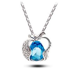 ZS Apple Shaped Pure Blue Crystal Necklace