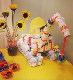 Crane diaper cake