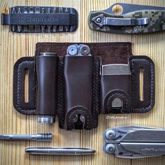 EDC leather Organizer/Sheath/Holster/Case/Pouch for mulitool, flashlight, pen, knife, zippo lighter Leather Holster, Leather Wallet, Tactical Pouches, Edc Tactical, Edc Belt, Custom Holsters, Edc Everyday Carry, Leather Projects, Leather Craft
