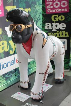 'Elvis' - one of Bristol Zoo's WowGorillas! exhibit in Bristol, England;  decorated to display around town in honor of the Bristol Zoo's 175th anniversary and to support Gorilla Conservation; those sold at auction raised thousands of dollars for conservation projects  (artist: Martin Band)