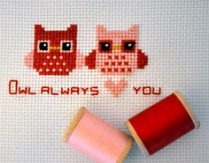 Hipster Owl Always <3 You Cross Stitch      Pattern by .ashleigh., via Flickr