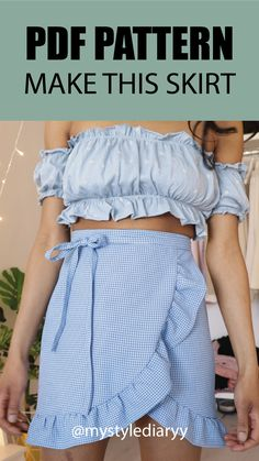 Make this ruffle wrap skirt with this PDF sewing pattern. Watch on youtube how to sew the wrap skirt step by step. #sewing #skirt #pdfpattern Minder Plus Size Patterns, Kids Patterns, Sewing Clothes, Diy Clothes, How To Sew, Leave Pattern, Easy Clothing, Gown Pattern, Skirt Patterns Sewing