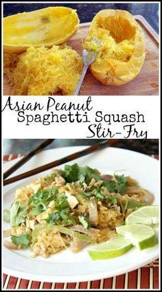 Asian Peanut Spaghetti Squash Stir Fry Recipe like pad thai | snappygourmet.com