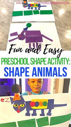 Easy Preschool Shape Activities: Shape Animals Activities For 2 Year Olds, Toddler Learning Activities, Sorting Activities, Shape Activities, Infant Activities, Kids Learning, Learning Shapes, Crafts For Boys, Kid Crafts