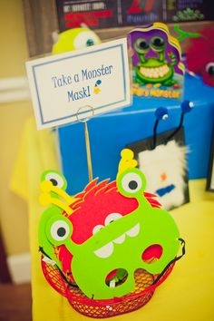 Take a mask at a Monster birthday party!  See more party ideas at CatchMyParty.com!