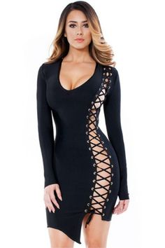 Black Long Sleeve Lace-up Hollow Out Deep V Sexy Black Bandage Dress Lipsy Dresses, Sexy Dresses, Fashion Dresses, Night Outfits, Sexy Outfits, Dress Outfits, Club Outfits, Long Sleeve Bandage Dress, Bodycon Dress