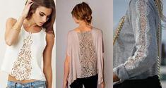 Скопила вот кучу идей интересных переделок... Делюсь с Вами! Remake Clothes, How To Make Clothes, Sewing Clothes, Fashion Sewing, Refashion, Sewing Projects, Kimono Top, Tunic Tops, Handmade