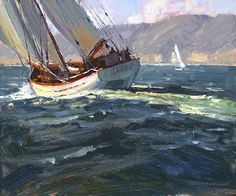 Sailing The Ocean Blue by Jim Wodark Oil ~ 10 x 12