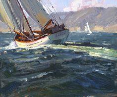 Sailing The Ocean Blue by Jim Wodark Oil ~ 10 x 12