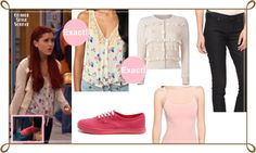 Ariana Grande as Cat Valentine in 'Tori Goes Platinum'Exact Kimchi Blue Prairie Tank Top in ivory | $19,99 Exact Marc By Marc Jacobs Daisy Ruffled Woolcashmere Cardigan in cream | $155 (sold out) Similar Basic Knit Tank in light pink | $2,80 Similar Classic Denim Skinny Jeans | $10,80Similar Vans Canvas Era Peach | $46,73   I found a similar cardigan to the Marc Jacobs one. Ruffle Cardigan By Target in dogbone | $17,99