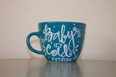 Baby it's Cold Outside Handpainted Coffee Mug by SwirledPatina