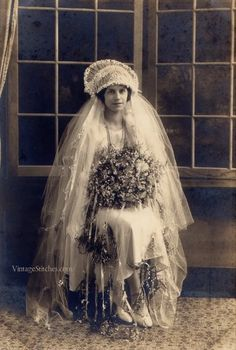 ~ ca. 1915-25  What a romantic wedding ensemble!  Great head piece with veil. NMB ~