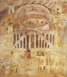 Roman fresco from Pompeii showing riots in and outside the arena arson destruction of property and stalls. Dated back to I AD. [435x500]