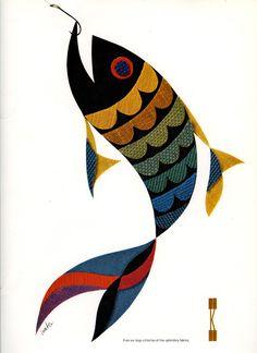 Advertisement for Knoll Associates, Inc. Herbert Matter, 1965. Featuring an assortment of Knoll Textiles.