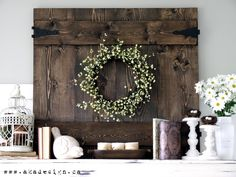 Spring Mantel... love the bird cage and barn door!! @June Kuiper Kuiper Kuiper Kuiper Kuiper Kuiper Matthews
