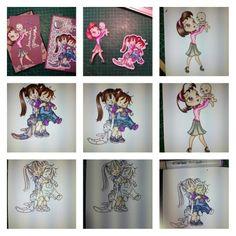 Tarjetas con dibujos coloreados con copic