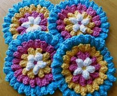 Da's Crochet Connection: Popcorn Flower Could keep going to make a blanket.