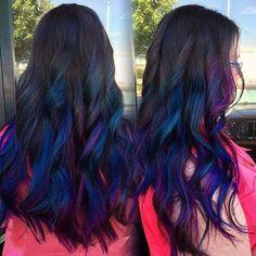 Blue and purple balyage